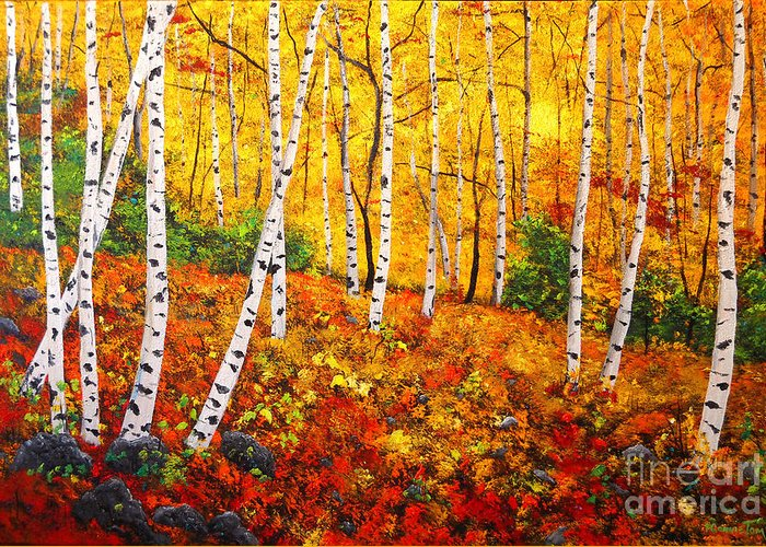 Original Painting Greeting Card featuring the painting Graceful Birch Trees by Connie Tom