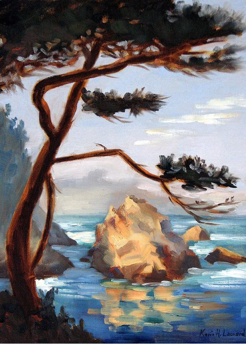 Point Lobos Painting Greeting Card featuring the painting Graceful Pine Pt. Lobos by Karin Leonard