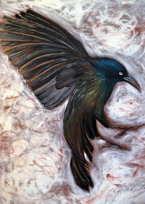 Grackle Bird In Flight Wildlife Nature Greeting Card featuring the painting Grackle by Jan VonBokel