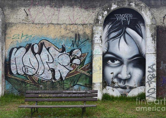 Graffiti Greeting Card featuring the photograph Graffiti Art Curitiba Brazil 1 by Bob Christopher