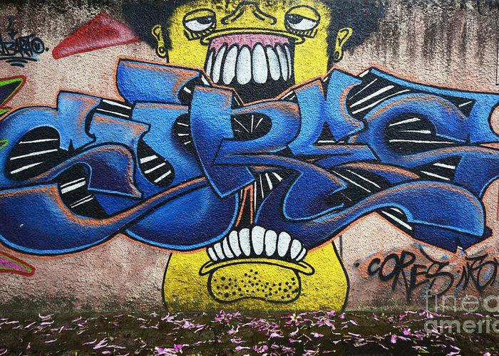 Graffiti Greeting Card featuring the photograph Graffiti Art Curitiba Brazil 7 by Bob Christopher