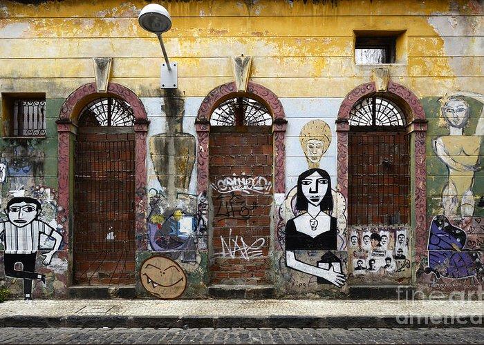 Graffiti Greeting Card featuring the photograph Graffiti Art Recife Brazil 20 by Bob Christopher