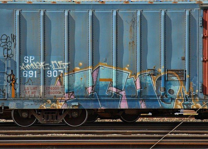 Graffiti Greeting Card featuring the photograph Graffiti - Ich - Blue On Blue by Graffiti Girl