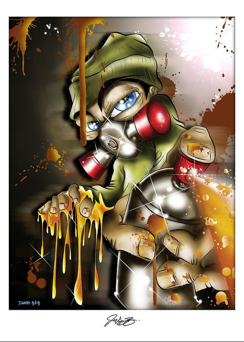 Graffiti Greeting Card featuring the digital art Graffiti Is An Addiction by John Webb