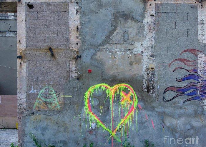 Outdoors Greeting Card featuring the photograph Graffiti On A Wall Damaged. France. Europe. by Bernard Jaubert