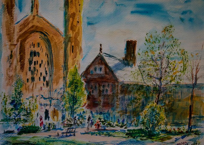 Watercolor Greeting Card featuring the painting Graham Chapel Morning Effect by Horacio Prada