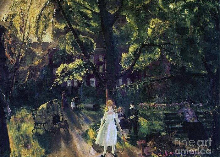 Manhattan; New York; Public Gardens; Bench; Garden; Leisure; Girl; Skipping Rope; Relaxation; C19th; C20th; New York City; Gramercy; Gramercy Park; Neighborhood; Neighborhood Park; New York City Park; Recreation; Park Scene; Stately Home; Jump Rope; Kid; Child; Children; Snapshot; Light; Summer; Summertime; Summer Time; George; Wesley; George Wesley; Bellows; George Wesley Bellows; Oil Paint; Oil Painting; Park Bench; Benches; Relax; Relaxing; Day In The Park; Tree; Trees; White Dress; Frock; Greeting Card featuring the painting Gramercy Park by George Wesley Bellows