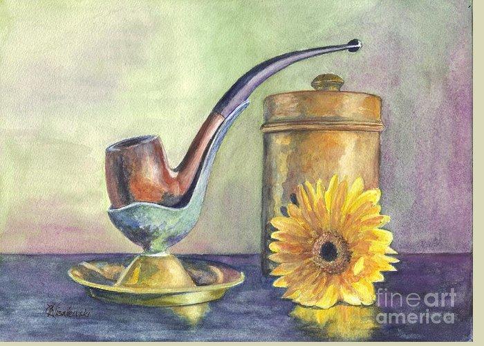 Pipe Greeting Card featuring the painting Grampas Pipe by Carol Wisniewski