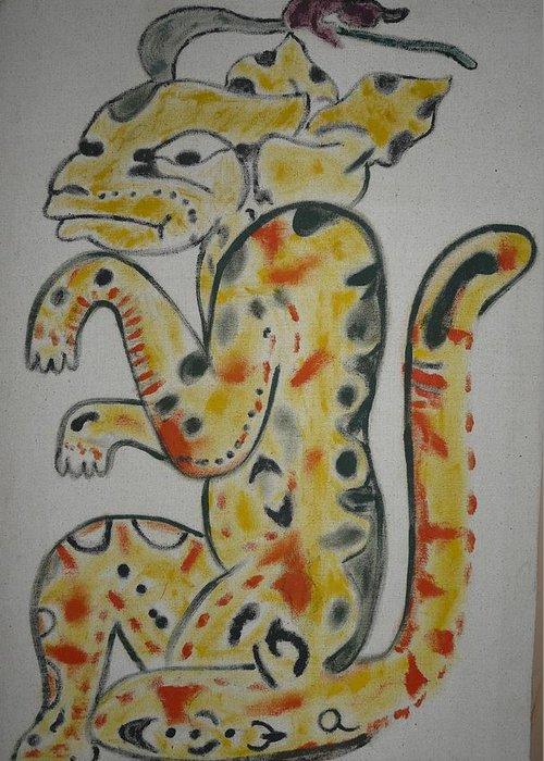 Mayan Greeting Card featuring the painting Gran Jaguar by Juan Francisco Zeledon