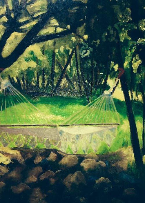 Oil Painting Greeting Card featuring the painting Granbury Hammock by Linda Scott