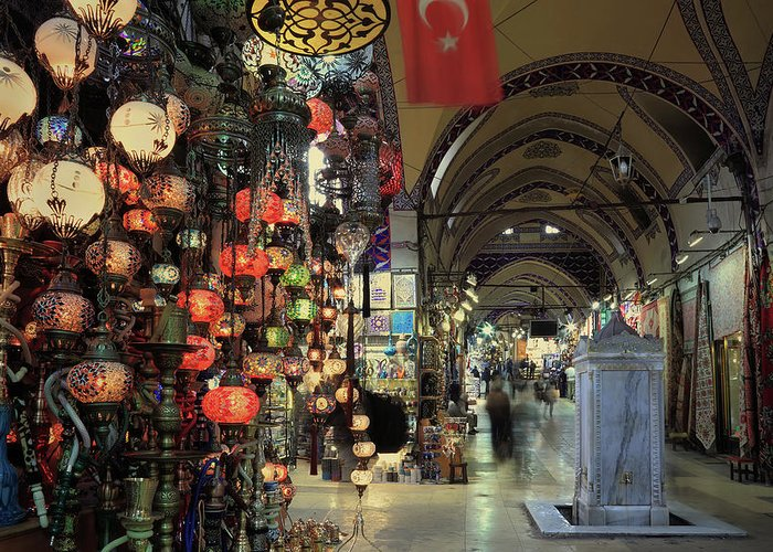 Rug Greeting Card featuring the photograph Grand Bazaar, Istanbul, Turkey by Petekarici