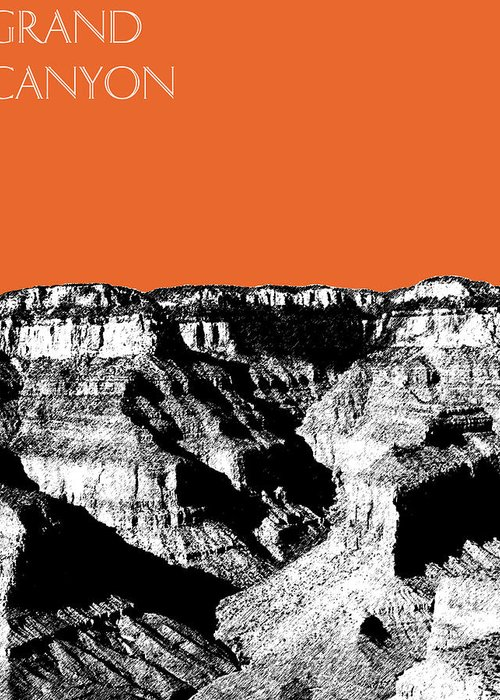 Pen And Ink Greeting Card featuring the digital art Grand Canyon - Coral by DB Artist