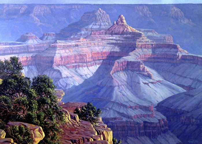 Grand Canyon Greeting Card featuring the painting Grand Canyon by Randy Follis