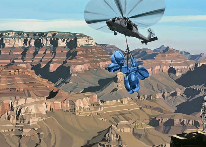 Astronaut Greeting Card featuring the painting Grand Canyon by Scott Listfield