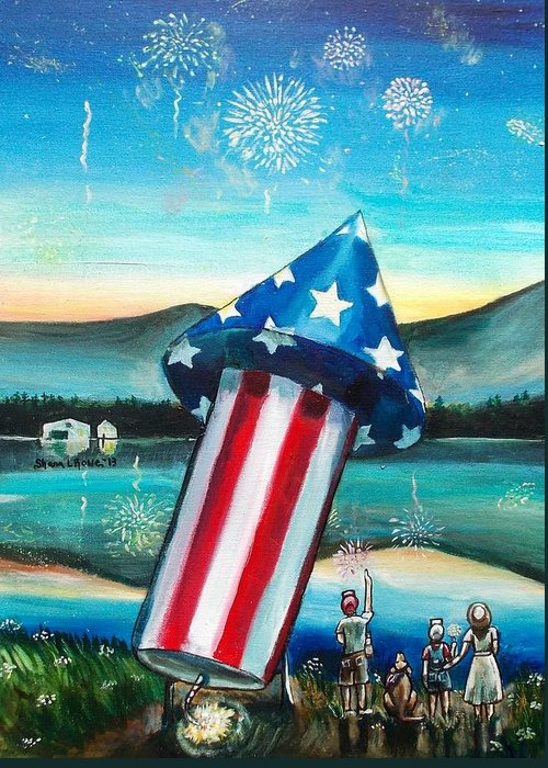 Firework Greeting Card featuring the painting Grand Finale by Shana Rowe Jackson