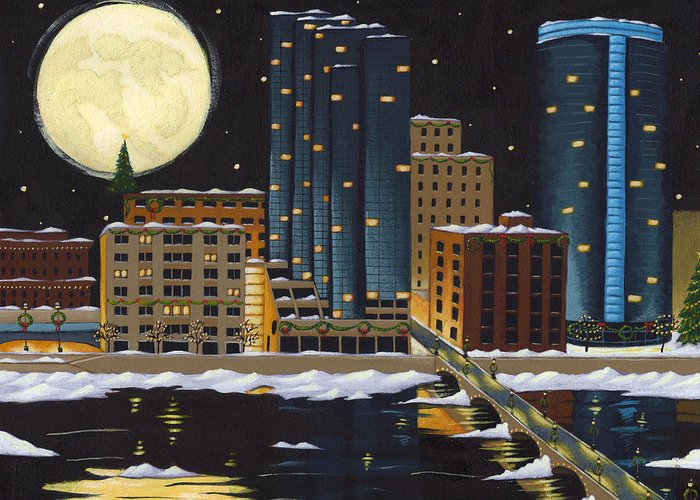Grand Rapids Greeting Card featuring the painting Grand Rapids by Christy Beckwith