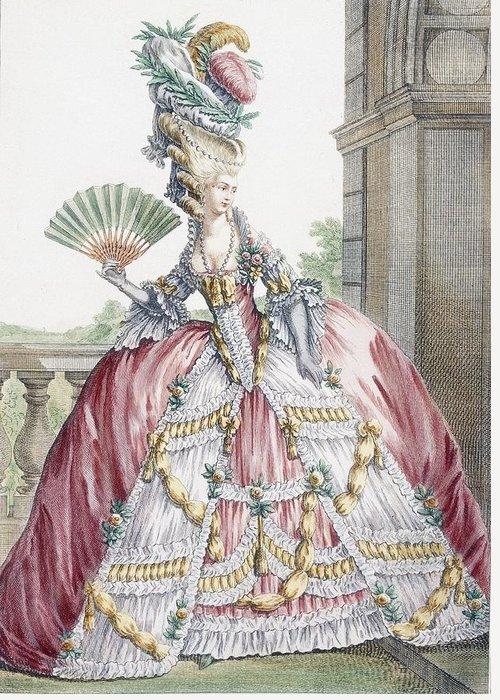 Fashion Greeting Card featuring the drawing Grand Robe A La Francais, Engraved by Claude Louis Desrais