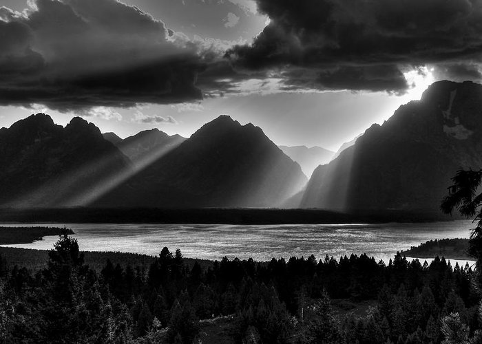 Mountains Greeting Card featuring the photograph Grand Teton Light Beams by Aidan Moran