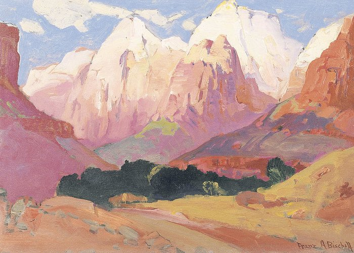 Landscape Greeting Card featuring the painting Grand Tetons by Franz A Bischoff