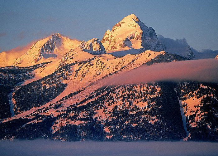 Grand Greeting Card featuring the photograph Grand Tetons In Winter by Buddy Mays