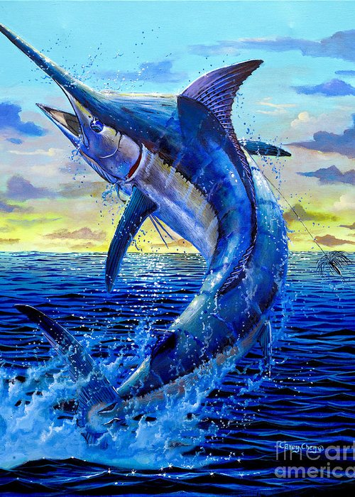 Marlin Greeting Card featuring the painting Grander Off007 by Carey Chen