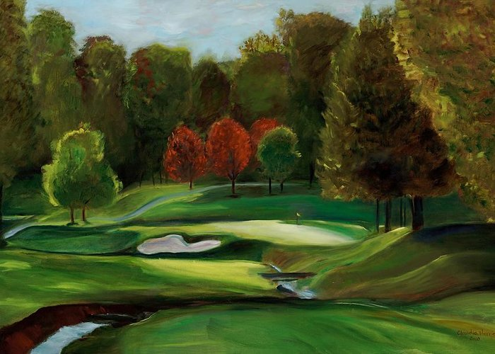 Golf Course Greeting Card featuring the painting Grandeur Of The Green by Claudia Herrick
