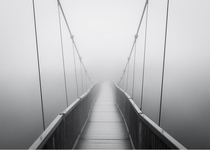 Grandfather Mountain Greeting Card featuring the photograph Grandfather Mountain Heavy Fog - Bridge To Nowhere by Dave Allen