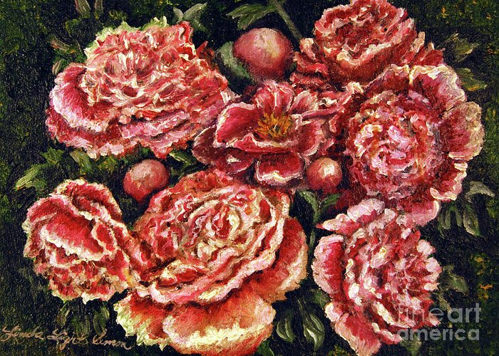 Pink Greeting Card featuring the painting Grandma Lights Peonies by Linda Simon