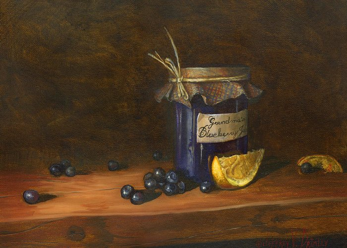 Grandma Greeting Card featuring the painting Grandma's Blueberry Jam by Jeff Brimley