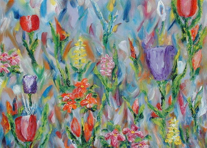 Landscape Greeting Card featuring the painting Grandma's Garden by SheRok Williams