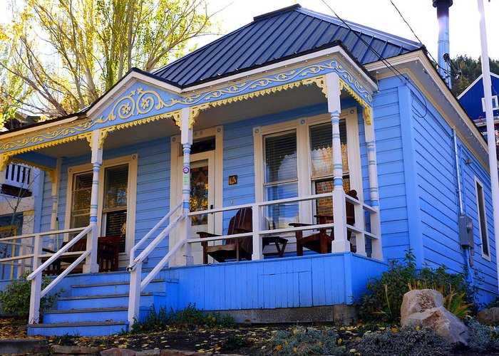 Blue Greeting Card featuring the photograph Grandma's House by Jackie Carpenter