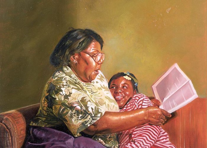 Grandmother Greeting Card featuring the painting Grandmas Love by Colin Bootman