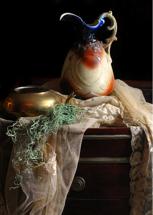Still Life Greeting Card featuring the photograph Grandmother's Lace Cloth by Diana Angstadt