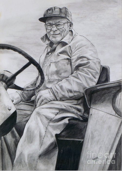 Tractor Greeting Card featuring the drawing Grandpa by Joy Nichols