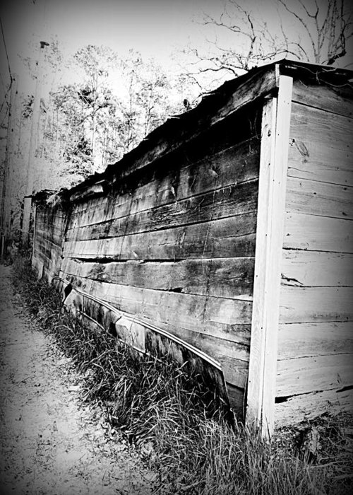 Farm Greeting Card featuring the photograph Grandpa's Wood Shed Black And White by Anthony Ackerman