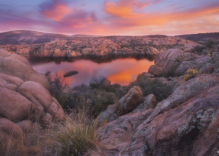 Watson Lake Greeting Card featuring the photograph Granite Sorbet by Peter Coskun