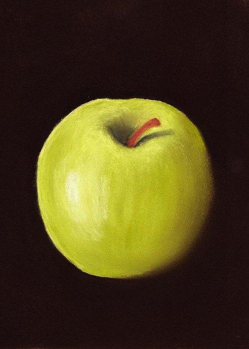 Apple Greeting Card featuring the painting Granny Smith Apple by Anastasiya Malakhova
