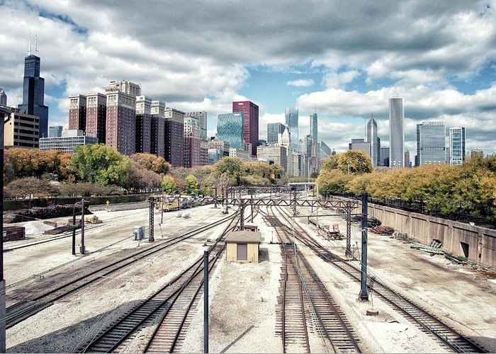 Tranquility Greeting Card featuring the photograph Grant Park Railroad Tracks by Photographer Who Enjoys Experimenting With Various Styles.