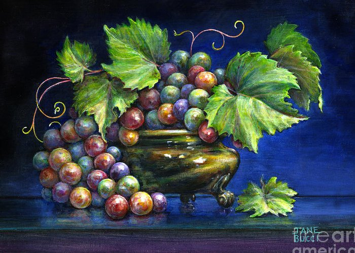 Still Life Greeting Card featuring the painting Grapes In A Footed Bowl by Jane Bucci