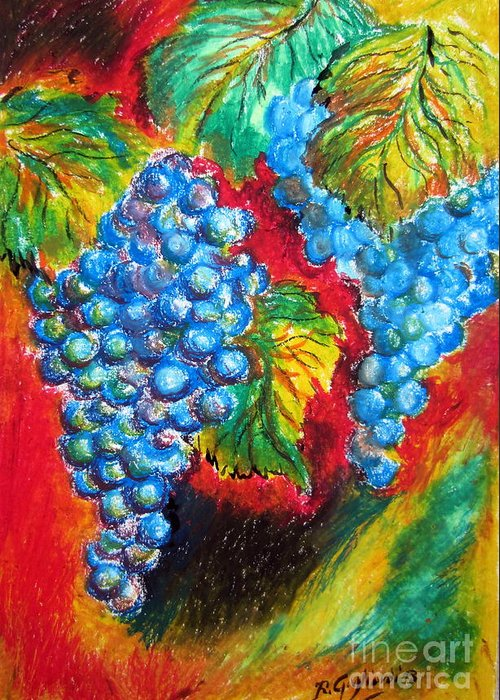 Uva Greeting Card featuring the painting Grapes by Roberto Gagliardi