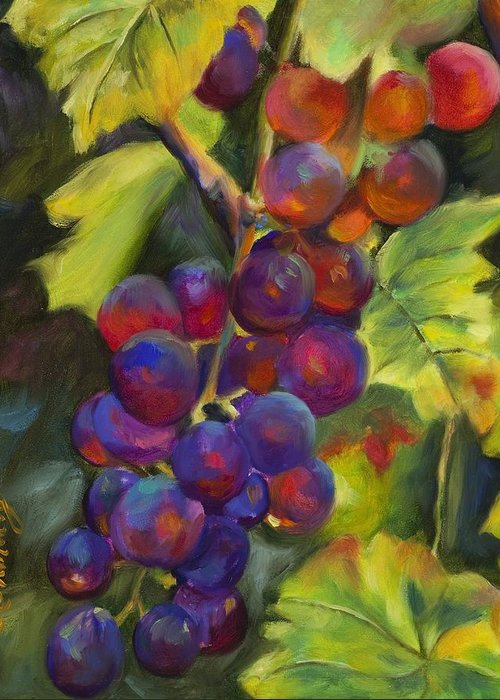 Grapes Greeting Card featuring the painting Grapevine by Chris Brandley