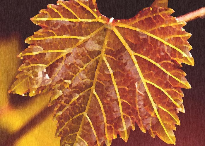 Red Grape Leaf Greeting Card featuring the painting Grapevine In Fall by Artist and Photographer Laura Wrede
