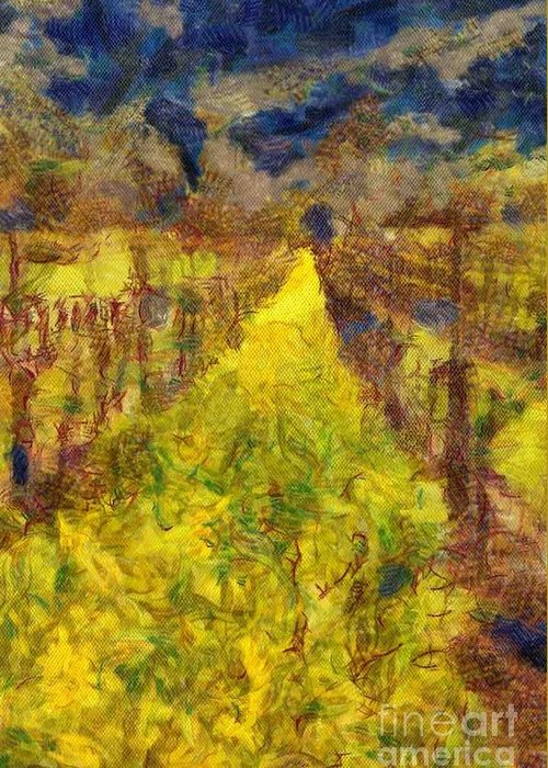 Winery Greeting Card featuring the digital art Grapevines And Mustard by Alberta Brown Buller