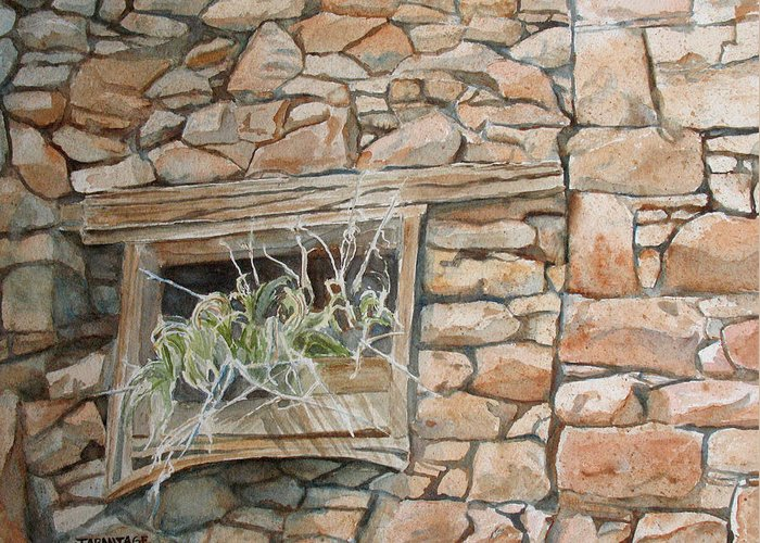 Wall Greeting Card featuring the painting Grass In The Window by Jenny Armitage
