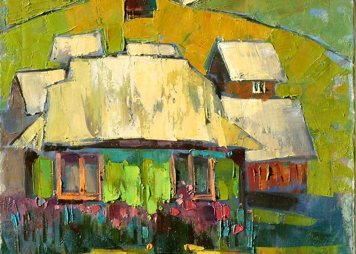 In The Yard Greeting Card featuring the painting Grass In The Yard by Anastasija Kraineva