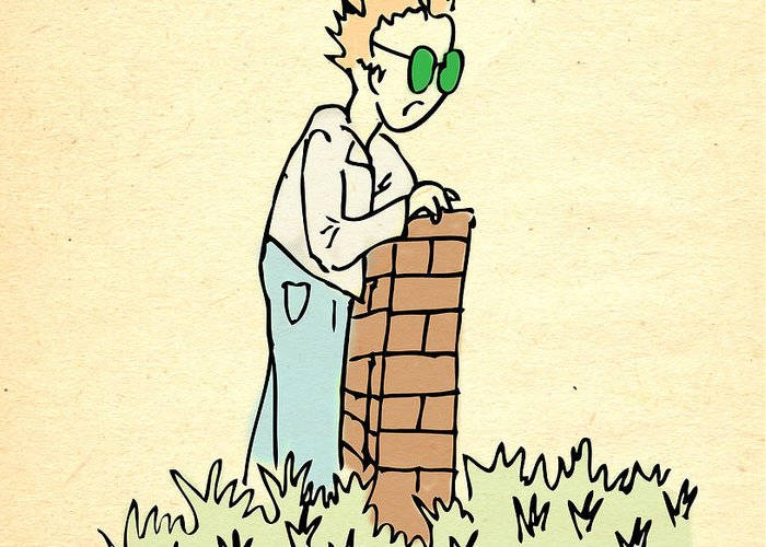 grass Is Greener Greeting Card featuring the drawing Grass Is Greener On The Other Side by