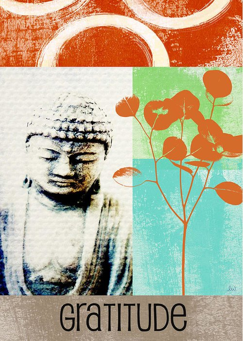 Gratitude Greeting Card Greeting Card featuring the painting Gratitude Card- Zen Buddha by Linda Woods
