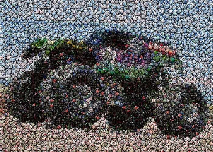 Grave Digger Greeting Card featuring the photograph Grave Digger Bottle Cap Mosaic by Paul Van Scott