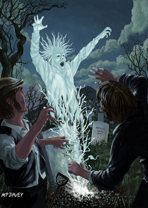 Graveyard Greeting Card featuring the painting Graveyard Digger Ghost Rising From Grave by Martin Davey