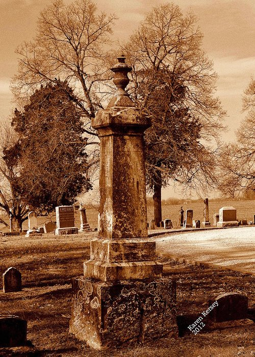 Graveyard Greeting Card featuring the photograph Graveyard In Sepia by Karen Kersey